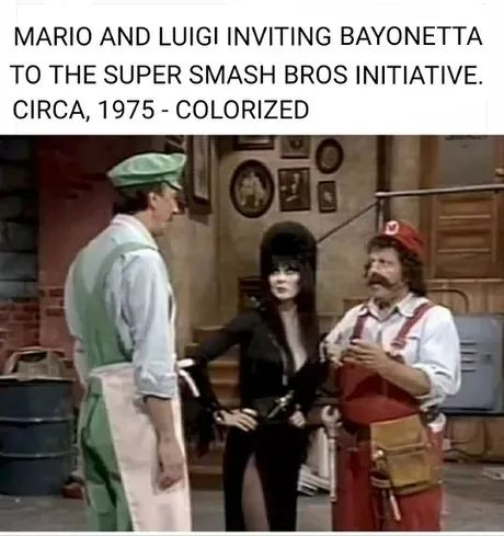 Mario and Luigi invite Bayonetta to Smash.jpg